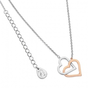 Tipperary Crystal Interlinked Two Tone Heart Pendant