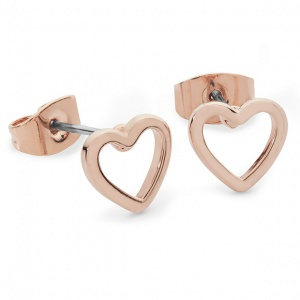 Tipperary Crystal Heart Drop Earrings Rose Gold