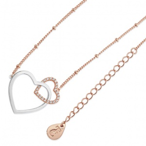 Tipperary Crystal Sparkling Interlinked Hearts Pendant Rose Gold