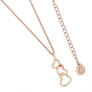 Tipperary Crystal Triple Heart Drop Pendant Rose Gold